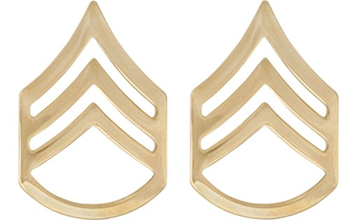 U.S. Army Metal Pin On Enlisted Rank NON-SUBDUED (SHINY) - 1 PAIR (E6 SSG)