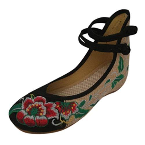 Floweworld Damen-Sommer-Sandelholze beiläufige ethnische gestickte Flache Schuh-hohe Zunahme-Knöchel-Doppelt-Bügel-Segeltuch-Schuhe