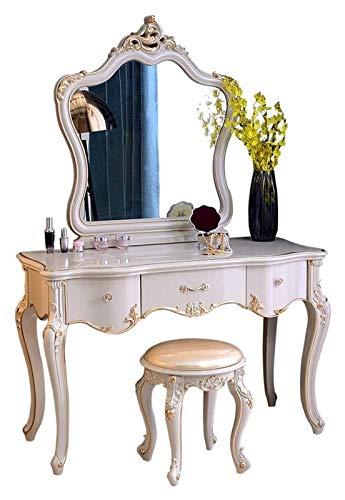 LXYYY Best Design Vanity Benches Dresser Table European-Style Solid Wood Dressing Table Bedroom Mirrored American Advanced Gray Great Gift for Girls Women