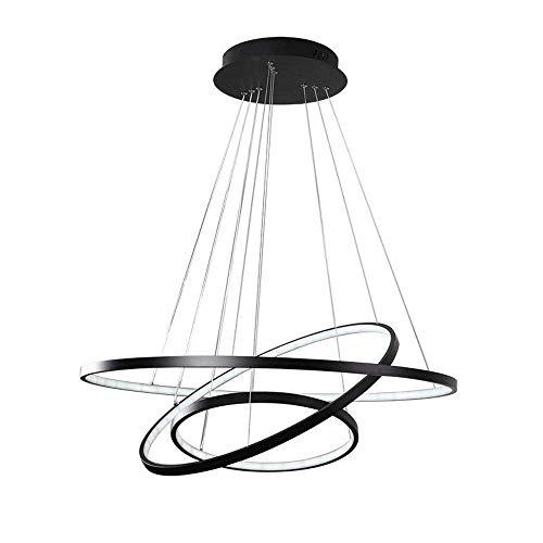 Suspension Luminaire ronde à LED Dimmable Télécommande Pendante Lampe à 3 anneaux Black Suspension moderne en métal acrylique en métal lampa à suspension salle à manger salon lampe suspendue 120W