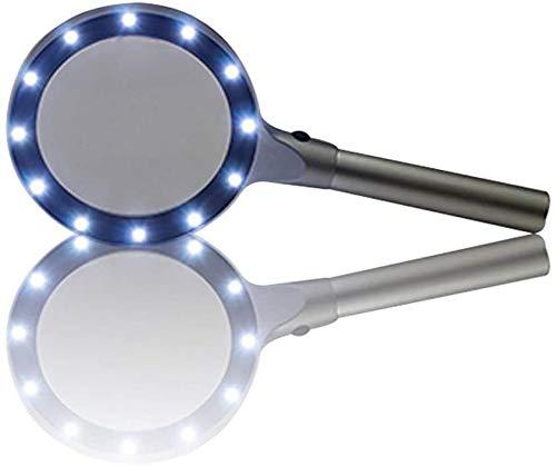 GUIYTQ5R Lupas de Gran Aumento 5X de Mano HD Lupas Lupa de Metal for la Lectura Lente de Cristal óptico, con 12 LED se Utiliza for el Trabajo, Lectura, aficiones, Artes