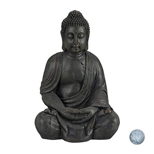 Relaxdays Estatua Buda Sentado XL para Jardín o Salón, Cerámica, Gris Oscuro, 70 cm