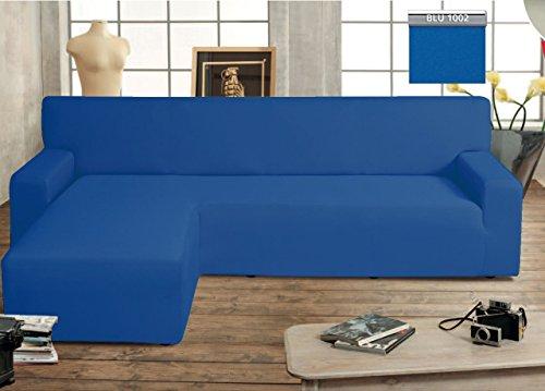 Capitan Casa Canapé protège-canapé Genius avec péninsule Chaise Longue modèle Swing Bleu Sinistra Bleu
