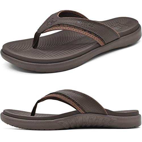 KuaiLu Mens Leather Sport Flip Flops Comfort Orthotic Thong Sandals with Plantar Fasciitis Arch Support for Outdoor Summer