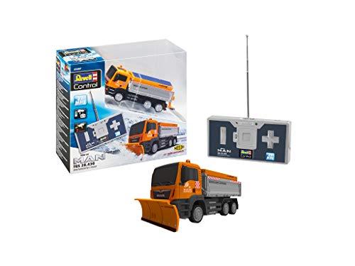Revell Control 23487 Mini RC Car Man Winterdienst Räumfahrzeug LKW mit Schneepflug, mit Akku und 27 MHz Fernbedienung mit Ladefunktion ferngesteuertes Auto, Orange