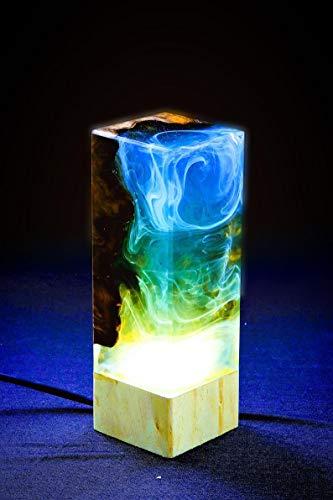 Luz nocturna – resina epoxi con madera | Galaxy sueños para niños | lámpara de salón | dormitorio | regalo único | cielo estrellado | LED con conector USB | resina epoxi | Color | Hecho a mano
