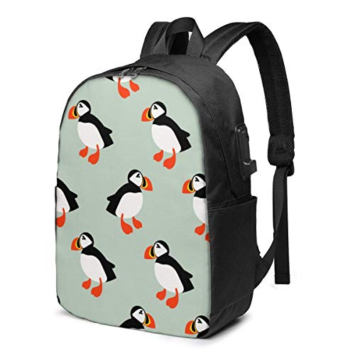 Hdadwy Puffin Seabird Backpack for School Student College Backpack Business Travel with USB Charging Port Fit Laptop Up to 15.6 Inch Luggage