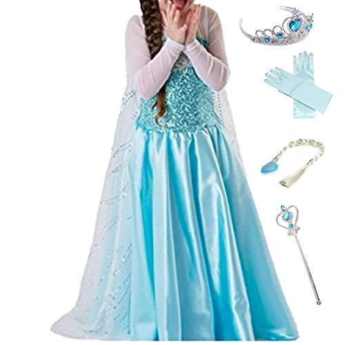 LOBTY Vestido de Princesa Elsa Reina Disfraz Elsa Vestido Infantil Niñas Costume Azul Cosplay de Disfraz de Halloween Cumpleaños Disfraz de Princesa Frozen Elsa Halloween Traje Fiesta