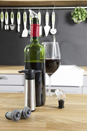 Vacu Vin 0649360 Weinpumpe mit 2 x Stopfen und 2 x Weinausgießern - Edelstahl