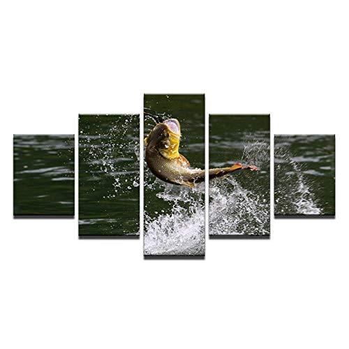 Ywsen Dekoration Malerei Wandkunst Leinwand-5 Stück Seen Wassertropfen Springen Fisch-Für Wohnzimmer Moderne Poster (Kein Rahmen 40x60 40x80 40x100 cm)