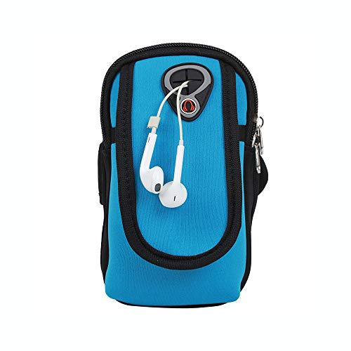 AINAAN Pulsera Universal para Correr, Soporte para teléfono Celular, Fitness y Gimnasio, Compatible con Todos los teléfonos de tamaño Normal (Azul Claro)