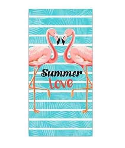 level25 Toalla Flamenco de Playa y Piscina. Original y Divertida. Tamaño 150 x 75 cm. Texto Summer Love. Azul