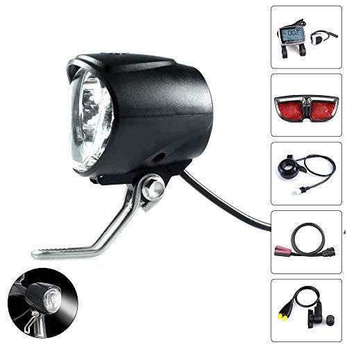 Greenergia Electric Bike Light Front Light Bicycle Safety LED Headlight Ebike Lights 36V 48V 60V Waterproof Flashlight for TSDZ Motor