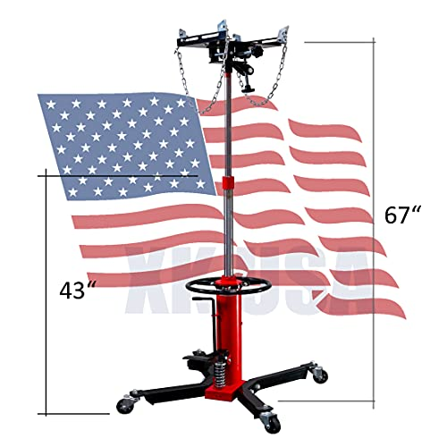 XINKONG 1660lbs Transmission Jack 2 Stage Hydraulic with Pedal 360° Swivel Wheel Lift Hoist 0.75TTransmission Jacks (Red)