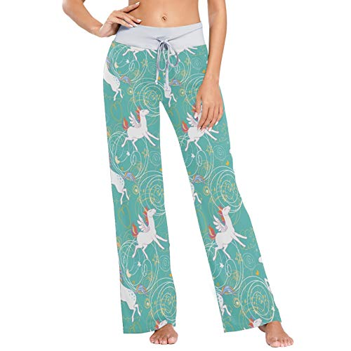 LENNEL Frauen Bequeme Kordelzug Pyjamahose lässig weites Bein Yogahosen M Einhörner Muster