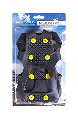 Mountval Ice and Snow Grips, Slip On Stretch Durable Cleats Crampons, Snow Covers, Various Sizes (XL / 44-46 EUR / 11-13 US Men)