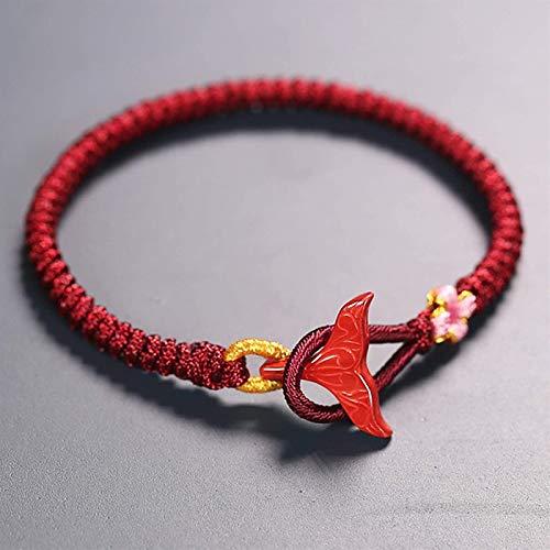 Pulsera tejida hecha a mano tejida de cuerda afortunado delfín cola cinabriosa trenza pulsera pulsera roja brazaletes para mujeres / hombres feng shui afortunado regalos chinos buena fortuna valiente