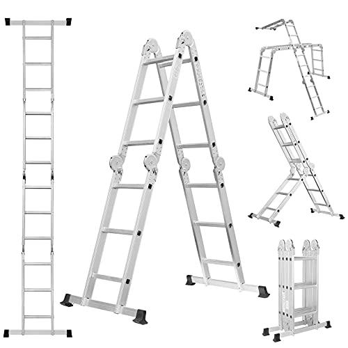 Escalera Multiusos de Aluminio de 3,5 m, 4 × 3 Peldaños, Soporta hasta 150 kg, Certificado en 131, Escalera Multiusos Plegable con 2 Placas Andamios y 2 Travesaños de Suelo