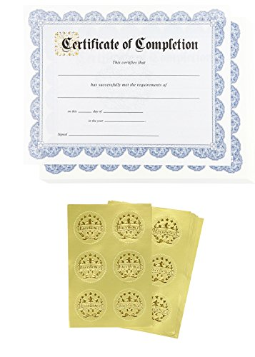 Certificate of Completion Award and Seal Stickers (Blue, 8.5 x 11 in, 48-Pack)