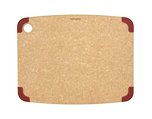 Epicurean - Tagliere antiscivolo, 37,8 x 29,2 cm, colore: Naturale/Rosso