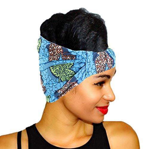 VEED Diadema elástica ultra ancha para mujer con rayas geométricas de color floral africano impresión diadema plisada turbante azul