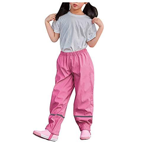Vexiangni Pantalones de lluvia para niños y niñas, resistentes al viento y al agua, pantalones de deporte al aire libre, para ocio, senderismo, escuela, pantalones unisex para niños, caliente, rosa, M