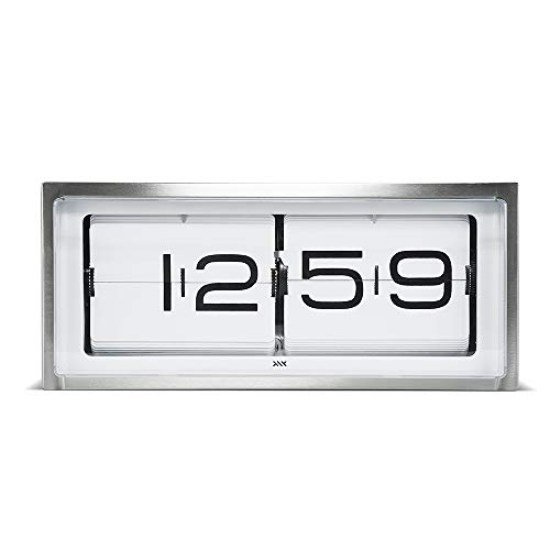 LEFF Amsterdam Brick Flip Clock for Wall or Tabletop Quiet Traditional 24h Stainless Steel/White