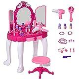 HOMCOM Tocador de Juguete Infantil Accesorios de Maquillaje con Espejo de +3 Años Efectos de Luz Música Puerto de MP3 Control Remoto 45x30,5x72 cm Rosa