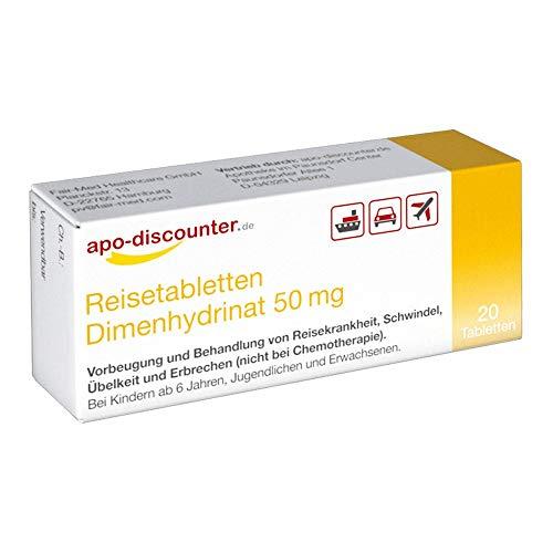 Reisetabletten Dimenhydrinat 50 mg Tabletten von apo-discounter (20 stk)