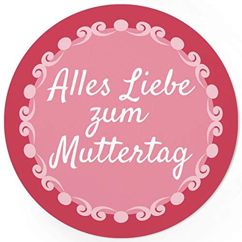24 moderne Design Etiketten, rund/Alles Liebe zum Muttertag Vintage Rosa/Muttertag/Liebe/Herzen/Mama Geschenk/Geschenk-Aufkleber/Sticker/für Firmen