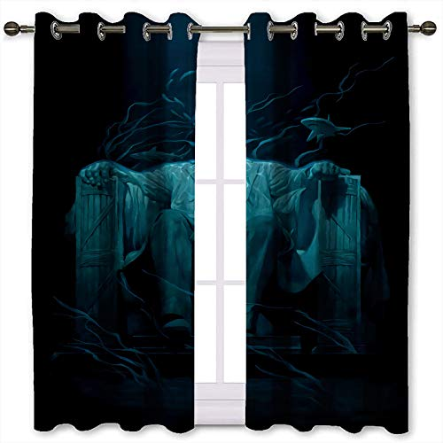 Juego de 2 cortinas cortas para hombre, diseño de águila de Halloween (132 x 160 cm)