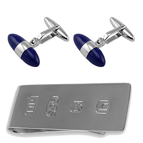 Select Gifts Sterling Silber Lapis Bullet Manschettenknöpfe James Bond Geld Clip Box Set