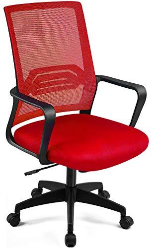 ComHoma デスクチェア 赤 オフィスチェア メッシュ 肘付き 腰を支え 蔷薇色 (CH118-RED)