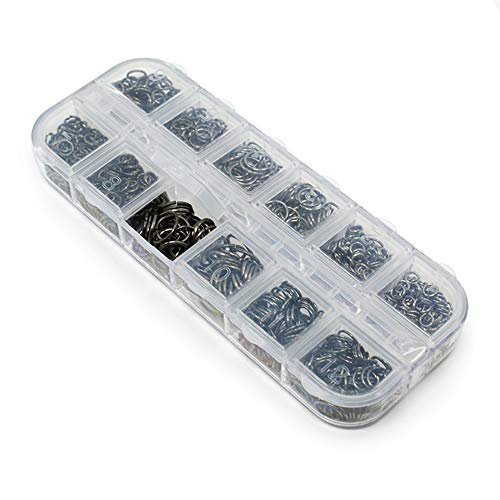 1 caja de anillos de salto de 4 mm, 5 mm, 6 mm, 7 mm, 8 mm, 10 mm, kit de hallazgos de joyería para collares, pulseras, reparación de joyas, color negro
