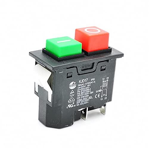 ndliulei Interruptor de Seguridad con botón pulsador electromagnético IP55 220-240V 16A de 4 Pines para máquina de jardín, Equipo de Herramientas eléctricas electrónicas KJD17