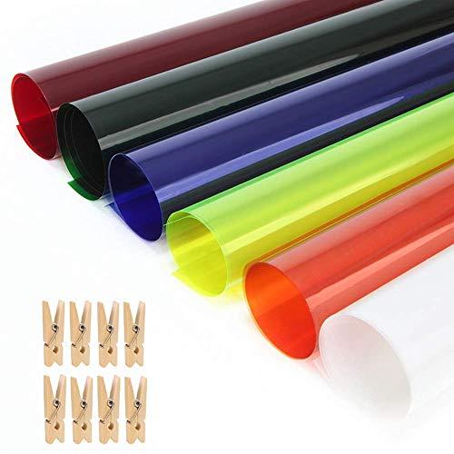 Selens 40x50cm Farbfolie Farbfilter Folie Professionel Transparente Farbkorrektur Beleuchtung Farbfolien für Foto Studio Strobe Blitz Flash 6 Stück + 8 stück Clip