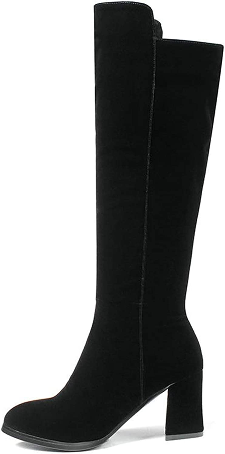 T-JULY Women Boots Western Style shoes Short Plush Pointed Toe Knee-High Boots Square High Heel Ladies Boots