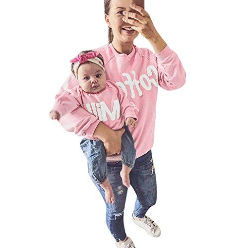 Familie Matching URSING Mutter und Kinder Lange Hülse Bluse Tops Brief T-Shirt Outfits Lange Ärmel Sweatershirt O-Ausschnitt Langarm Pullover Top Familienkleidung (80, Rosa/Kinder)