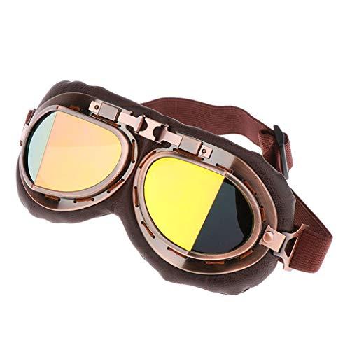 perfk Motorradbrille Fahrradbrille Schutzbrille mit Elastische Gurt, Verstellbar, Winddicht, Anti-Beschlag, UV-Schutz