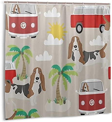 Duschvorhang Basset Ho& Dog Beach Bus Hippie Palmen Wasserdichter Stoff Badevorhang für s 72 x 72 Zoll