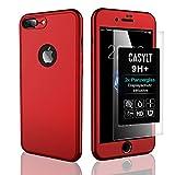 CASYLT [kompatibel für iPhone 7 Plus & iPhone 8 Plus] 360 Grad Fullbody Soft-Case Hülle [inkl. 2X Panzerglas] Komplettschutz TPU Handyhülle in Rot