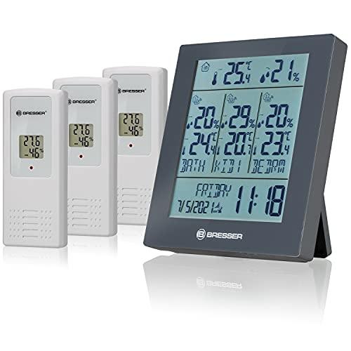Bresser Wetterstation Funk mit Außensensor Quadro Neo mit Wettervorhersage, Luftdruckmessung, Wecker und 3 Stück Außensensoren für Temperatur und Luftfeuchtigkeit, grau