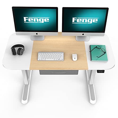 Fenge Escritorio Eléctrico Regulable en Altura 110x60cm con Cajones de Almacenamiento(Blanco) EDF4706WO-EU