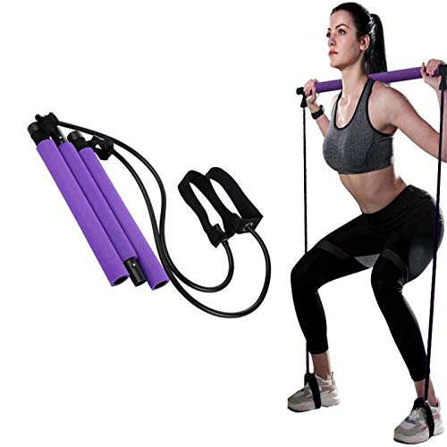 Pilates Bar, Super Tragbarer Pilate Übungsstab Set mit Widerstandsband, Heimfitness Ganzkörpertraining Resistance Bands für Ganz Körper Workout, Yoga, Fitness, Gewichtsverlust, Stretching, Shaping