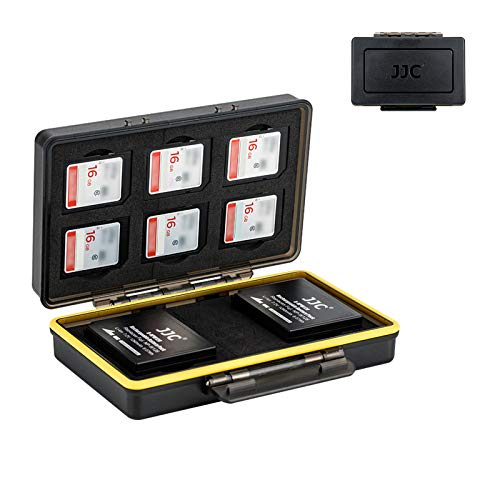 Camera Battery and SD Card Case Holder,6 SD Card Slots + 2 Fuji Battery Slots Storage fit Fujifilm NP-W126 NP-W126S X-T30 X-T20 X-T10 X-T3 X-T2 X-PRO3 X-PRO2 X-PRO1 X100F,Water-Resistant & Shockproof