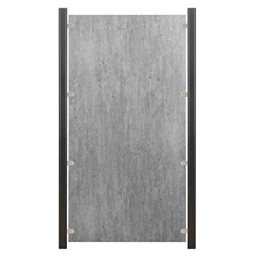 HORI® HPL Garten-Zaun granit-beige I Sichtschutzzaun Komplettset I 9x Standard + 10x Pfosten I zum Aufschrauben I Pfosten: schwarz