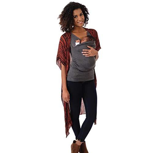 URSING Känguru T-Shirt Sommer Kurzarm Weste Rundhals Tragetuch Tshirt Oberteile Bluse Babytragen Umstandsbekleidung Tank Tops für Männer Frauen Muttertag (M, Papa/Grau)