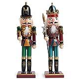 2 Piezas Cascanueces de Navidad de Madera, 30cm| Material de Pino y Madera Premium, Robusto, Colores...