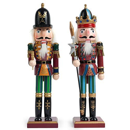 2 Stück Holz Weihnachten Nussknacker Figuren, 30cm| Premium Kiefern & Holzmaterial, Robuste, Festliche Farben| Klassische traditionelle Weihnachtsdekorationen Haus Deko.