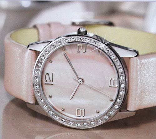 Details zu Damen Armbanduhr mit Echtlederarmband in Rosa mit Simili Steinen